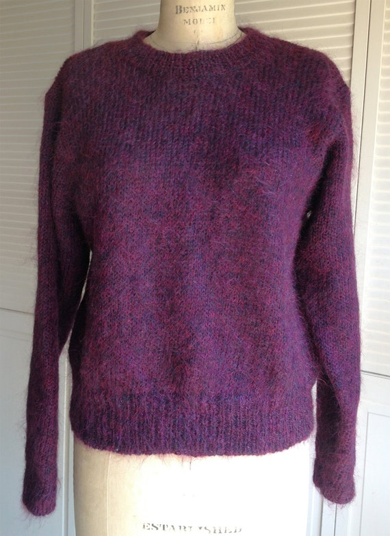 1980s Mohair Variegated Plum Hand Knit Sweater