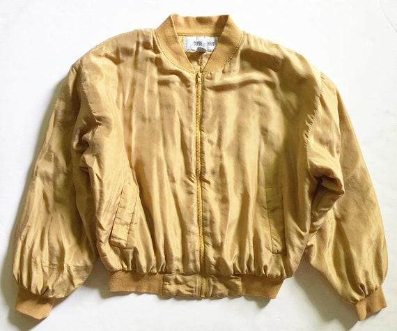 Vintage 1980s Gold Washed Silk Bomber Jacket - image 1