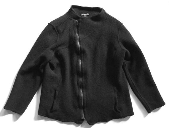 Black Boiled Wool Zip Front Jacket Eileen Fischer
