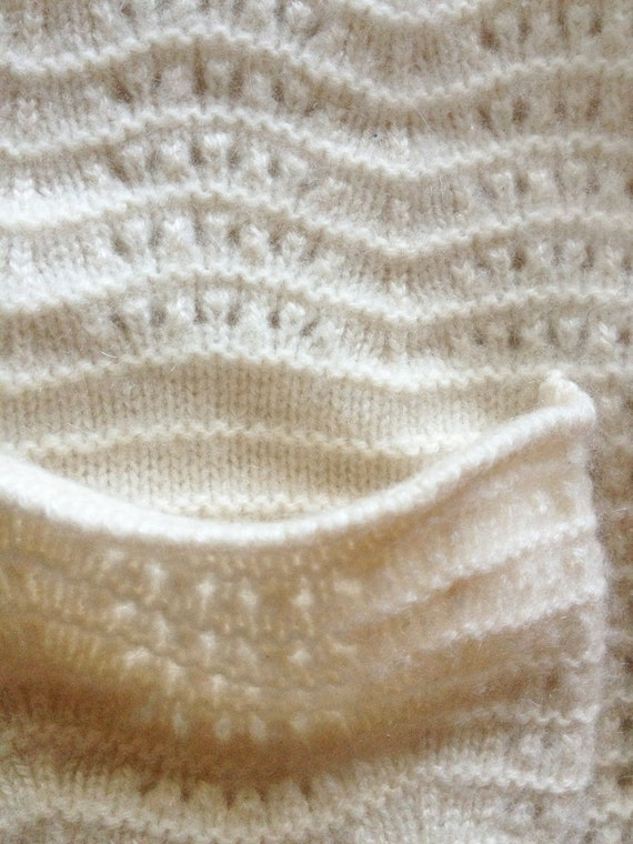 Vintage Ivory Pointelle Shawl Collar Cashmere Car… - image 6
