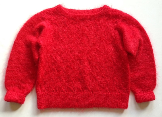 1980s Tomato Red Hand Knit Mohair Sweater Lattice