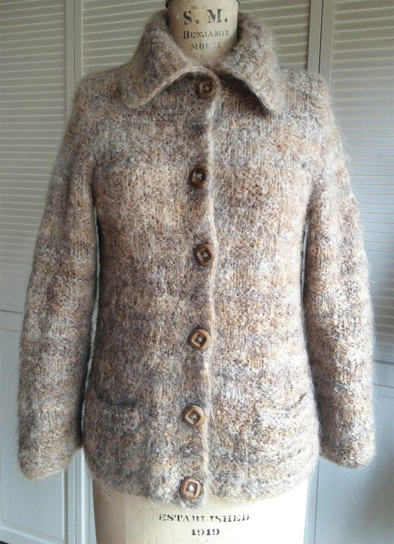 Hand Knitted Mohair Cardigan Oatmeal Heather