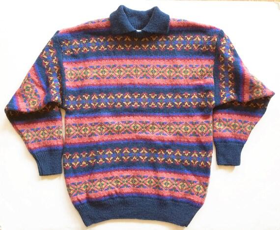 Vintage 1980 Laura Ashley Wool Fair Isle Sweater M