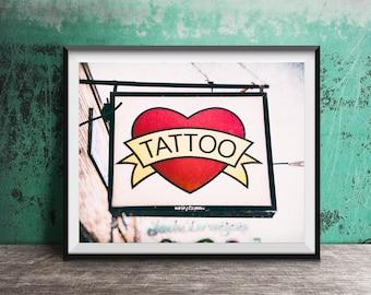 Heart Tattoo Sign Print - Tattoo Shop - Tattoo Sign - Tattoo Heart - Photography Print vintage sign photo