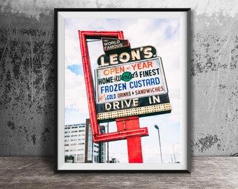 Leon's Frozen Custard - Unframed Photography Print - Kitchen Wall Decor, Summer Time Photo Art - Drive-In Food Print - Milwaukee, Wisconsin