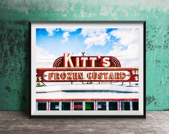 Kitt's Frozen Custard - Unframed Photography Print - Kitchen Wall Decor, Summer Time Photo Art - Dining Room Print - Milwaukee, Wisconsin