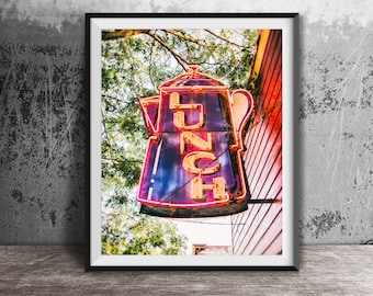 Lunch, Coffee Pot - Unframed Photography Print - Kitchen Wall Decor, Breakfast Time Photo Art - Modern Dining Room Print - Neon Sign