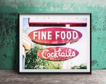 Fine Food - Cocktails - Cocktail Bar - Neon Sign - Wall Art Photo - Bar Photography - Lounge - Unframed Wall Decor