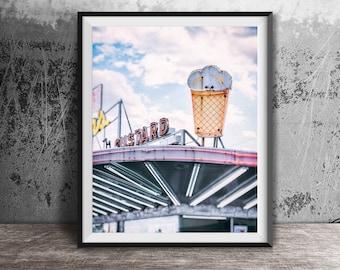 Ice Cream Cone Neon Sign, Leon's Frozen Custard - Unframed Photography Print - Kitchen Wall Decor - Drive-In Food - Milwaukee Wisconsin