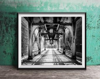 Train Tracks - Chicago CTA - Chicago Train - Black and White