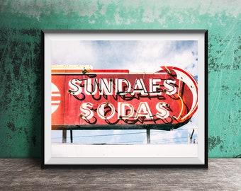 Sundaes, Sodas - Ice Cream Shop, Soda Fountain - Unframed Photography Print - Kitchen Decor, Photo Art - Modern Dining Room Print