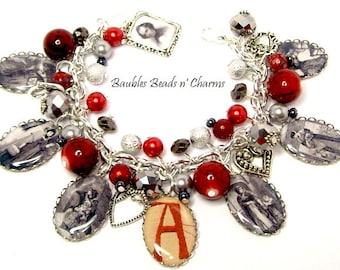 The Scarlet Letter Charm Bracelet, Literary Charm Bracelet Jewelry, Book Charm Bracelet Jewelry, Authors Charm Bracelet, Nathaniel Hawthorne