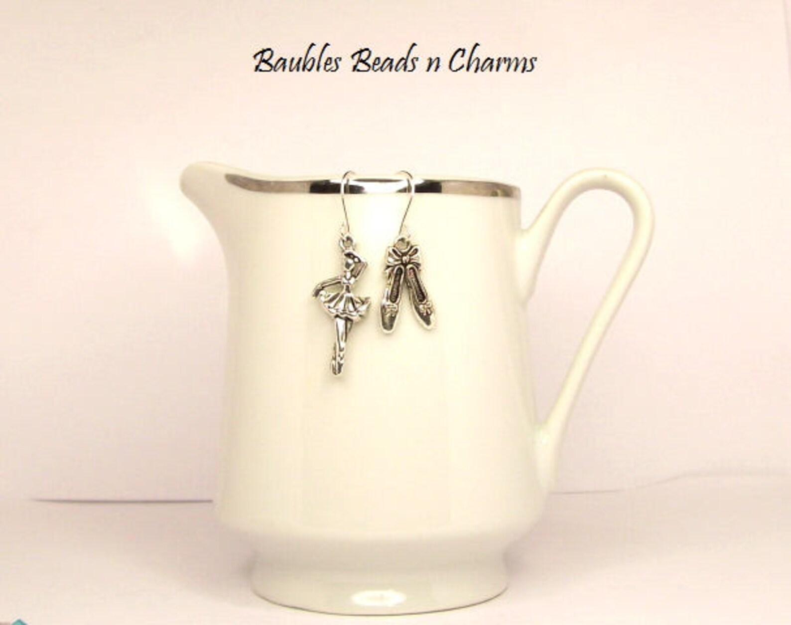 ballet earrings, ballet charm earrings, ballerina earrings, ballerina charm earrings, charm earrings, ballerina asymmetrical ear