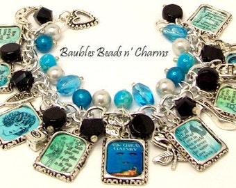 The Great Gatsby Charm Bracelet Jewelry, Literary Charm Bracelet Jewelry, F. Scott Fitzgerald, Book Quotes Bracelet