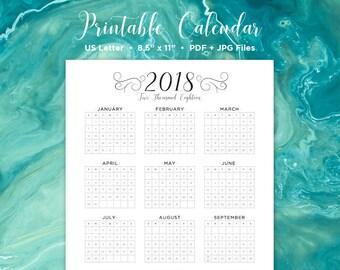 Year at a Glance Calendar   2018 Calendar   Printable Calendar   Year in One Calendar   Wall Calendar   Calendar   2018   Printable