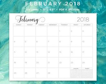 February 2018 Calendar | February 2018 | February Calendar | February | Calendar | Printable Calendar | Printable | Monthly Calendar | 2018