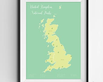 United Kingdom National Parks Map | National Parks | National Parks Map | United Kingdom | National Park Poster | Wall Art | Printable | Map
