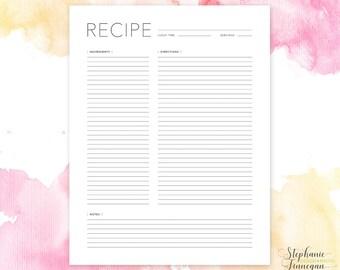 a5 recipe page recipe page a5 recipe book recipe card etsy