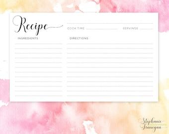 Recipe Card | 4x6 Recipe Card | Printable Recipe | Printable Card | Recipe | Printable | Recipe Cards | Instant Download | Recipe Template
