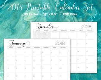 2018 calendar printable calendar wall calendar monthly calendar 2018 printable printable planner printable calendar printable