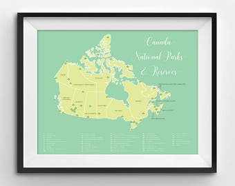 Canada National Parks Map | National Parks | Parks Canada | National Parks Map | Canada | National Park Poster | Wall Art | Printable | Map