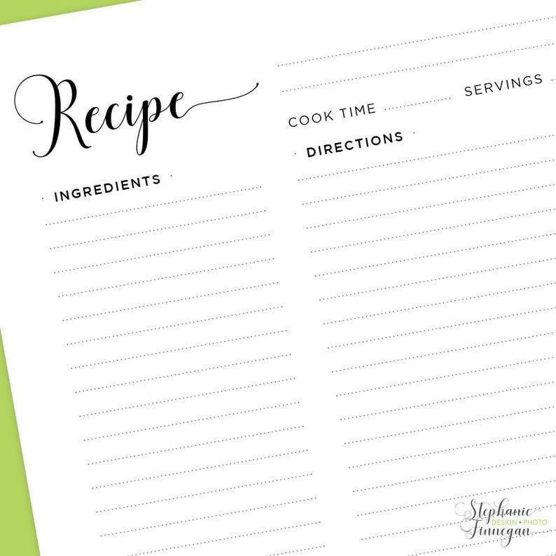 Recipe Card Half Letter Size Recipe Page Recipe Binder Recipe Page 5.5 x 8.5 Recipe Sheet Recipe Book Printable Recipe Page