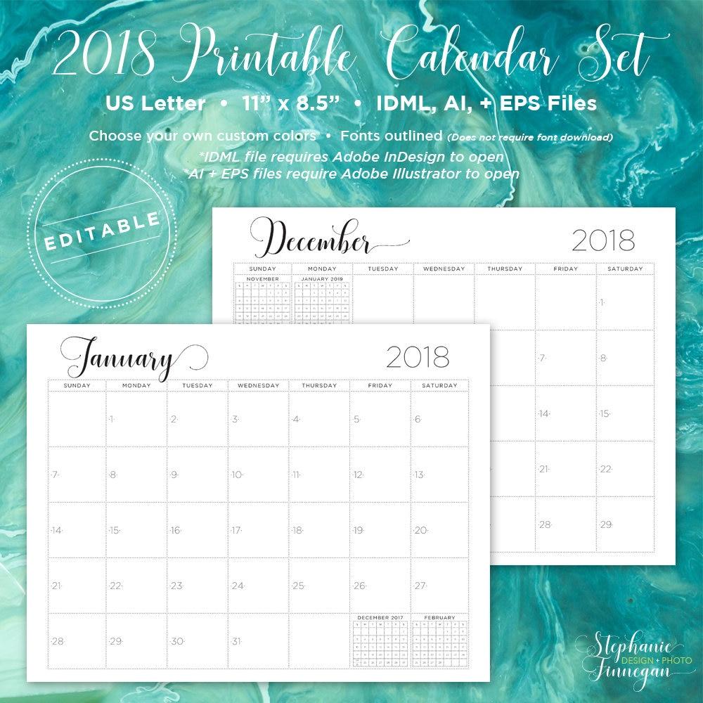 Calendario 2018 Calendario editable Calendario para | Etsy