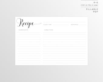 4x6 Recipe Card | Printable Recipe | Printable Card | Recipe | Printable | Recipe Cards | Recipe Template | Instant Download