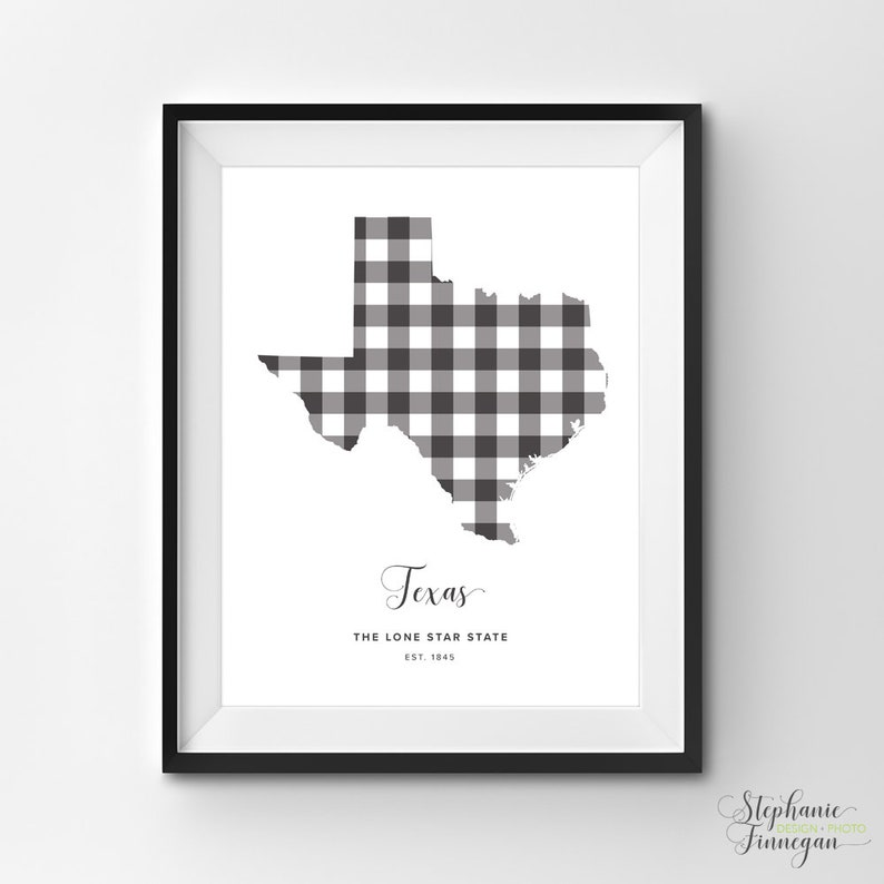 picture relating to Texas Printable known as Texas Printable Printable Artwork Gingham TX Print Texas Artwork Texas  Nation Artwork Printable Region Poster Printable Wall Artwork