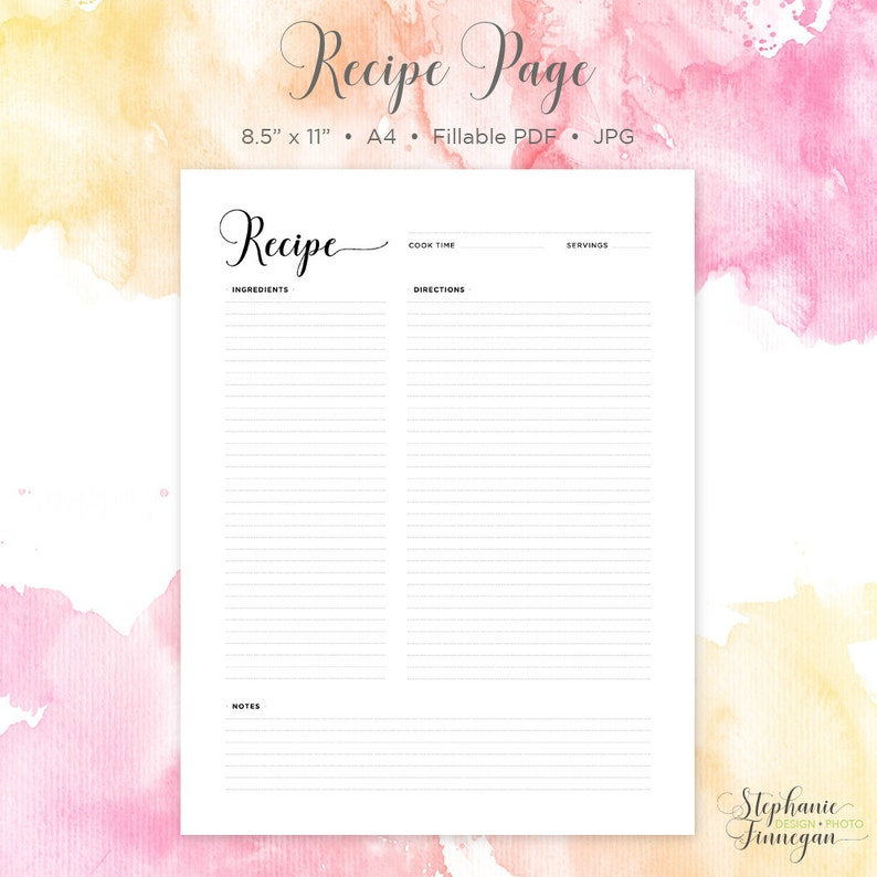 Blank Recipe Book Recipe Page Recipe Template Instant Download Recipe Printable Recipe Card Printable Recipe Recipe Sheet