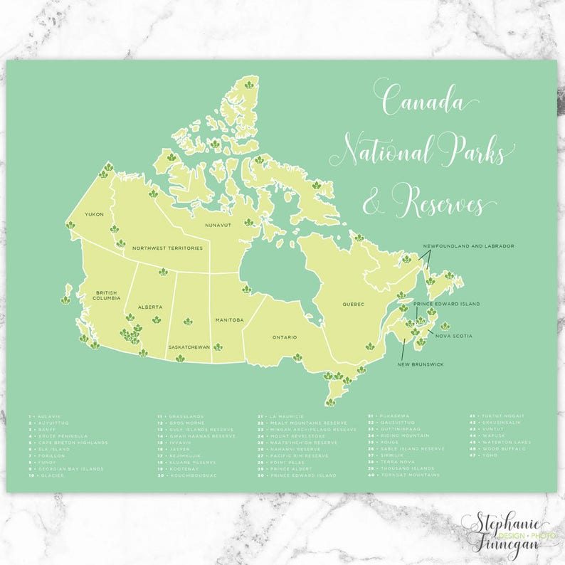 Canada National Parks Map National Parks Parks Canada | Etsy
