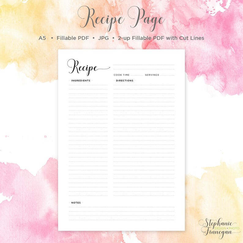 graphic about Printable Recipe Pages identified as A5 Recipe Web site Recipe Web page A5 Recipe Reserve Recipe Card Recipe Binder Recipe Sheet Printable Recipe Site Blank Recipe Guide