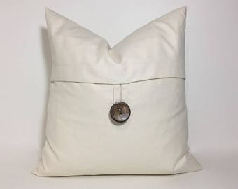 Natural ivory button pillow cover. Button pillow cover. Coconut button throw pillow, Richloom natural duck. Neutral home decor accent pillow
