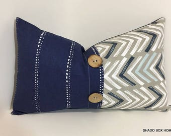 Navy button pillow cover. 12x20 Colorblock pillow cover.  Coconut Button pleat accent. Navy home decor lumbar pillow cover, throw pillow