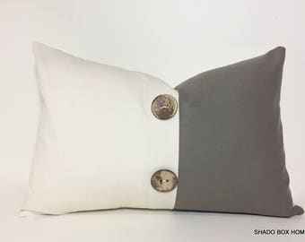 LUMBAR PILLOW COVER. Neutral colorblock button pleat accent. 12X20 throw pillow. olive brown button pillow cover