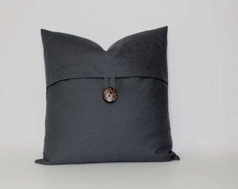 Button pillow cover ~ soft graphite grey, charcoal gray pillow. coconut button accent throw pillow, home decor accent