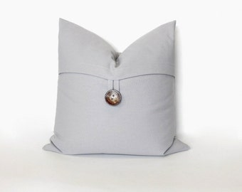 Button pillow cover, Storm grey. Coconut Button. decorative sofa throw pillow, home decor accent