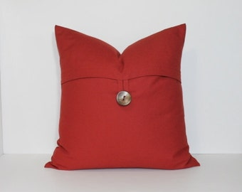 BUTTON PILLOW COVER. Choose spice red, grey or tan pillow cover. Large coconut button. decorative throw pillow, home decor accent