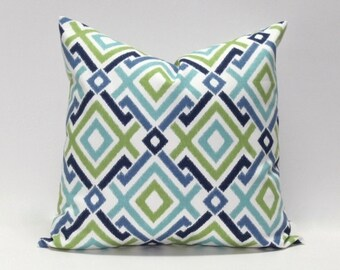 Ocean blues and green Decorative pillow cover.  Modern diamond geometric design. Home decor accent pillows