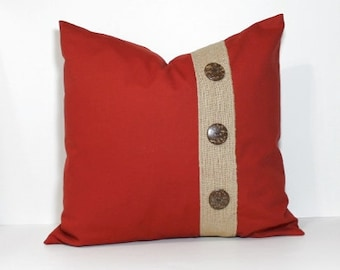 Embellished Red and Burlap button pillow cover. 18x18 pillow cover, spice red pillow, coconut buttons, throw pillow, home decor accent