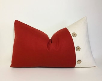 Spice Red Colorblock button pillow cover, coconut button pleat accent pillow.  spice red and natural ivory. decor pillow.