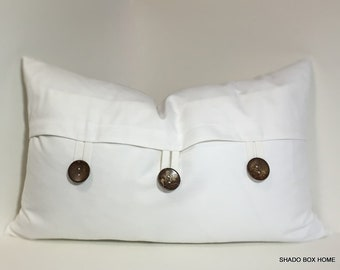 Button pillow cover. 16x26 rectangular 3 button pillow cover. Accent pillow. Neutral home decor accent pillow