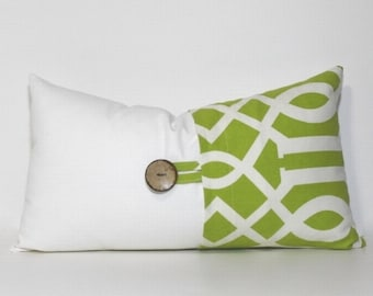Apple green & white button lumbar pillow Cover. Coconut button. Geometric Sedro print. Sofa pillow. Couch pillow. Home decor accent