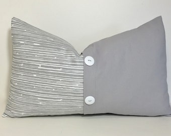 Grey colorblock button pillow cover. Button pleat pillow cover. 12x20 lumbar pillow cover. pleat accent lumbar pillow cover, throw pillow