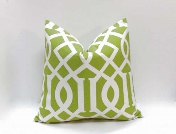Green Decorative Pillow Cover Apple Green Large Geometric Etsy Amazing Apple Green Decorative Pillows
