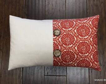 Sand dollar Red button pillow cover. Seabreeze lobster red 12x20 Colorblock pillow cover. Coconut buttons. pleat accent lumbar throw pillow