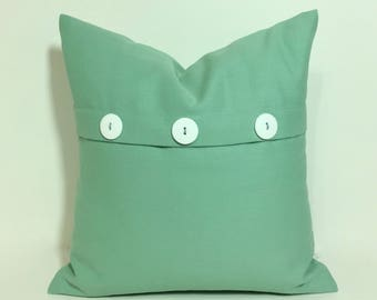 Seaglass green Petite square pillow cover. Button pleat pillow cover.  Soft green petite square sofa throw pillow, home decor accent