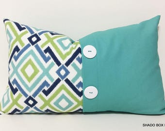 Aqua button pillow cover. 12x20 Colorblock pillow cover. Button pleat accent. Beach home decor lumbar pillow cover, throw pillow