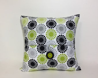 Petite square button pillow cover.  Green, black, grey, white home decor accent pillow. decorative throw pillow. Green black accent