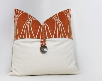 Button pillow cover. Orange geometric Robert Allen Design & natural ivory pillow cover home decor accent.